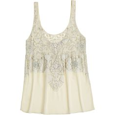 CALYPSO St. Barth Edia Hand Embellished Silk Top ($239) ❤ liked on Polyvore featuring tops, shirts, tank tops, white sequin tank, white shirt, embroidered shirts, sequin tank and white silk tank top