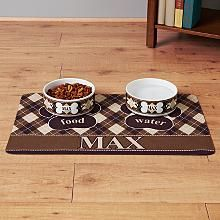 Argyle Pet Bowls and Placemats