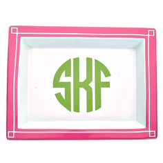 Pink Monogrammed Large Rectangle Blair Jewelry Tray