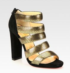Christian Louboutin Mehari Metallic Leather and Suede Sandals in Gold