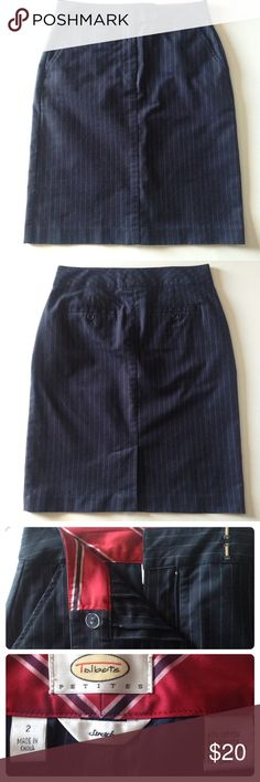 "Talbots pencil skirt This navy pencil skirt has grayish white pinstripes, back slit and pockets, and diagonal front pockets. Perfect for the office with a classic white button up shirt and blazer or cardigan. EUC - no flaws. Machine washable cotton, with a little spandex for stretch. 14"" across waistband, 18"" across hips, 21"" long. Talbots Skirts Pencil"