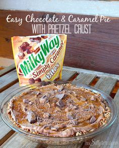 Easy Chocolate and Caramel Pie with Pretzel Crust #EatMoreBites  #shop