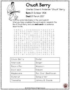 Chuck Berry Word Search and Research Activity