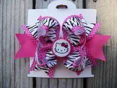 Hello Kitty Zebra Striped Stacked Boutique Hair bow $6.99