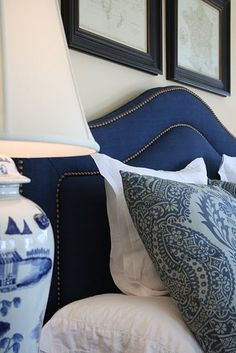 Navy blue. custom headboards and bedding available Design Nashville