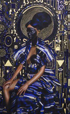 Yaa Asantewaa Pure 24 Karat Gold, Acrylic, Sumi Ink, Gouache, Print on Matte Canvas 52 x 40 in / x cm Unique 2016 African American Art, African Art, Modern Art, Contemporary Art, Foto Art, Black Art, Oeuvre D'art, Art Direction, Art Inspo