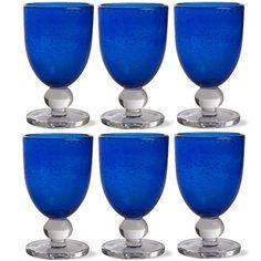 Cobalt Bubble Glass Goblet, Set Of 6 Wine Glasses & Goblets Drinkware Kitchen Blue Drinking Glasses, Blue Wine Glasses, Plastic Silverware, Blue Kitchen Decor, Water Into Wine, Blue Bottle, Mason Jar Wine Glass, Organic Shapes, Cobalt Blue