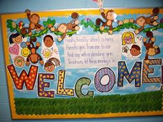 First Grade Welcome Back bulletin board in Voluntown, CT