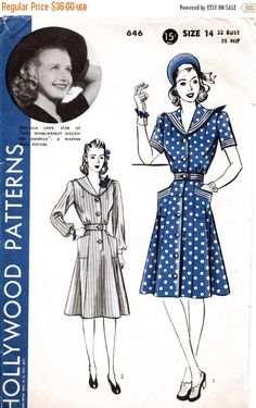 Sale:) 1940s Vintage Hollywood Sewing Pattern 646 - One Piece Dress with Sailor Collar Size 14 Bust 32 Featured Starlet Priscilla Lane by anne8865 on Etsy https://www.etsy.com/listing/205811593/sale-1940s-vintage-hollywood-sewing