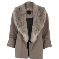 River Island Petite grey faux fur collar blazer ($130) ❤ liked on Polyvore featuring outerwear, jackets, blazers, long blazers, grey blazers, petite blazer jackets, crepe jacket and tall blazer
