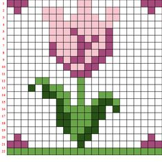 Frühlingsbilder in Pixelkunst - coding nella scuola primaria mpm - DIY Event Cross Stitch Beginner, Tiny Cross Stitch, Easy Cross Stitch Patterns, Pony Bead Patterns, Cross Stitch Bookmarks, Simple Cross Stitch, Cross Stitch Alphabet, Beading Patterns, Cross Stitch Embroidery