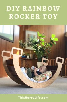 We used online tutorials to guide our project, but there are a few things we wou. - We used online tutorials to guide our project, but there are a few things we would do differently if we made another Rainbow Rocker Wooden Projects, Furniture Projects, Furniture Plans, Baby Woodworking Projects, Modern Baby Furniture, Diy Kids Furniture, Baby Diy Projects, Cnc Woodworking, Cnc Projects
