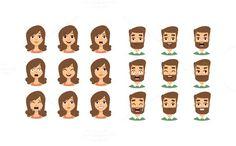 Human emotion face vector set. Human Icons. $5.00