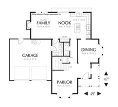 Main Floor Plan of Mascord Plan 2280 - The Norway - Farmhouse Plan with Bay Windows