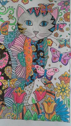 Coloured By Wendy Robert. From Creative Cats by Marjorie Sarnat. Done with gel pens and Prismacolor pencils.