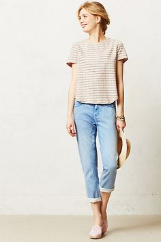 I love this whole outfit. Current/Elliott Fling Relaxed Jeans - anthropologie.com