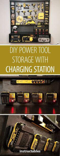 ORGANIZED TOOL ALERTKeep your power tools tidy and charged when you build this impressive tool cupboard. #tools #workshop #workshopproject #DIY #storage #toolstorage