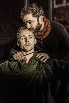Tom Hiddleston (Coriolanus) and Hadley Fraser (Aufidius) in Coriolanus at the Donmar Warehouse, December 2013