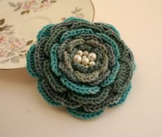 Crochet Flower Brooch and Hairclip in One Pearl by EadenYarns, £12.00