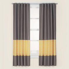 "Organic New School Yellow Stripe 84"" Curtain"