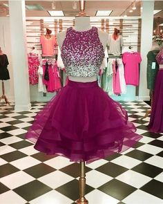 Two Pieces Beaded Homecoming Dress Custom Made Short Dance Dress Fashion Short Prom Dress Source by dressestailor dress short Prom Dresses Two Piece, Cute Prom Dresses, Prom Dresses For Teens, Grad Dresses, Pretty Dresses, Homecoming Dresses, Quinceanera Dresses, Short Evening Dresses, Junior Prom Dresses Short