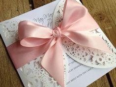 faire part mariage original dentelle noeud ivoire rose cereza