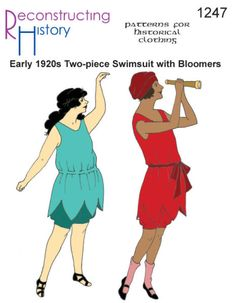 Patterns of Time Early Ladies' Swimsuit with Bloomers in Larger Sizes Pattern by Reconstructing History, Retro Vintage Swimsuits, Two Piece Swimsuits, Women Swimsuits, 1920s Bathing Suits, 1920s Swimsuit, Beach Costume, Flapper Era, 1920s Outfits, Swimsuit Pattern