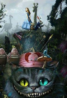 Luv Alice in wonderland! Go ask Alice, I think she will know! Luv Alice in wonderland! Go ask Alice, I think she will know! Alice In Wonderland Artwork, Alice And Wonderland Quotes, Tim Burton Kunst, Tim Burton Art, Dark Disney Art, Gato Alice, Desenhos Tim Burton, Wallpaper Gatos, Dark Art Tattoo