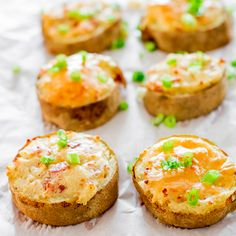 Twice Baked Potato Slices. - perfect for a week night dinner as they would be for an elegant dinner party! And you can make them well in advance, keep them in the fridge, then just bake them off right before. Or even freeze them, unbaked!