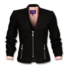Edler, taillierter Blazer aus grobem, einfarbigem Tweed mit... ($130) ❤ liked on Polyvore