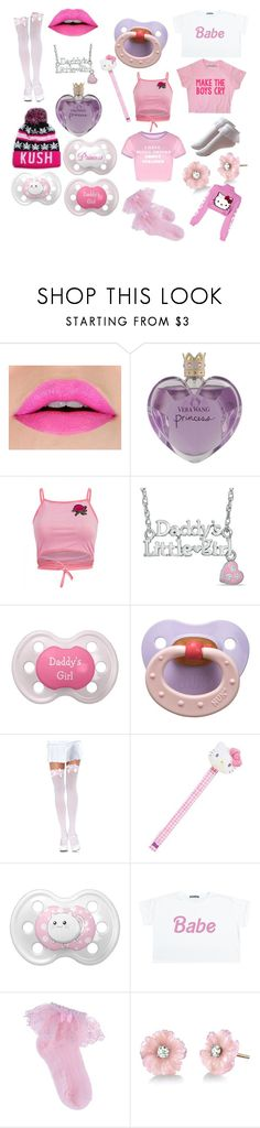 """Pink Aesthetic "" by daddysharleyquinn ❤ liked on Polyvore featuring Vera Wang, Zales, Leg Avenue, Hello Kitty, cutekawaii, Irene Neuwirth, GCDS, ddlg, littlespace and cgl"