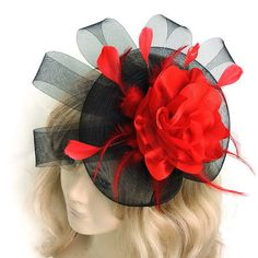 large red black hair band flower feather fascinator by Mamahanky, $19.99