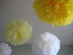Dandelion - 10 Tissue Paper Pom Poms - Decoration Bright Yellow and White DIY Decor kit - You are my Sunshine Party Theme. $35.00, via Etsy.