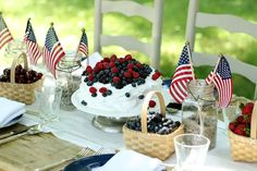 Star-Spangled of July Party Red, White & Blueberry Ice Cream Cake, Star-Spangled Sangria, Festive Flag Table Setting Memorial Day Decorations, 4th Of July Decorations, Festival Decorations, Table Decorations, 4th Of July Cake, 4th Of July Desserts, Fourth Of July Food, July 4th, Peanuts