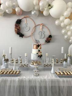 Elegant Ba Shower Bridal Shower Decorations Engagement intended for Elegant Baby Shower - Party Supplies Ideas Table Decoration Wedding, Engagement Party Decorations, Bridal Shower Decorations, Balloon Decorations, Table Decorations, Balloon Garland, Diy Engagement Party, Pearl Wedding Decorations, Backyard Engagement Parties