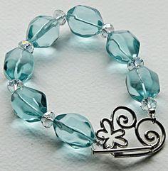 Aquamarine and Crystal Bracelet