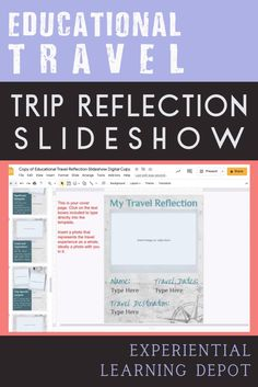 This educational travel learning reflection template is perfect for travelers from school groups to youth groups to homeschoolers. It's even works for single travelers, traveling for fun. It is a Google Slides with editable questions, image boxes, and more. #educationaltravel #homeschooltravel Reflection Questions, Youth Groups, Experiential Learning, Student Travel, Formative Assessment, Creative Teaching, Homeschool Curriculum, School Ideas, Texts