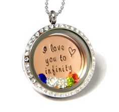 Personalized Infinity Living Locket, Floating Locket, Memory Locket by Silver Impressions
