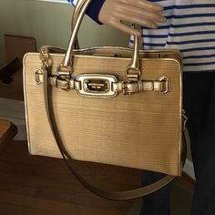 """Michael Kors Large Tote New with tags Measurements  approximate 14"""" W x 11"""" H x 5.5 D  strap drop 16.5"""" Large gorgeous new with Tags Natural pale gold weaved with leather Trim Hamilton Tote this is authentic MICHAEL Michael Kors Bags Totes"""