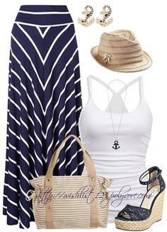 I think I could still rock this look : ) Fashion For Mom – Fashion on a Budget – Navy And White Maxi Skirt - Perfect SUMMER outfit! Summer Fashion Outfits, Spring Summer Fashion, Beach Wear For Women Outfits, Summer Clothes For Women, Stylish Eve Outfits, Cruise Fashion, Vacation Fashion, Casual Summer Outfits For Women, Vacation Wear