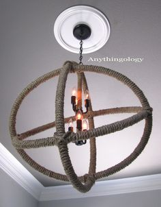 DIY Restoration Hardware Rope Planetarium Chandelier made with hula hoops for under $50.