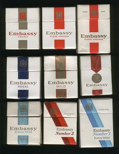 Top row: Embassy Plain Embassy Filter Embassy King Size Middle row: Embassy Regal Embassy Mild Embassy Gold Bottom row: Embassy Extra Mild new packaging for late Embassy and Embassy Extra Mild King Size). For more information see Vintage cigarette packets Vintage Cigarette Ads, Cigarette Brands, Those Were The Days, My Childhood Memories, Teenage Years, Do You Remember, My Memory, Vintage Advertisements, No Time For Me