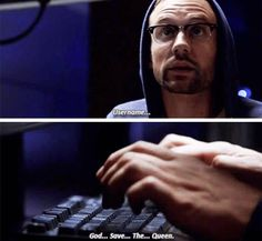 Hunter as a hacker was hilarious!!! He was typing so slow and talking so slow and it was wonderful acting.