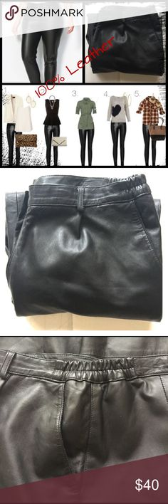 """{100% Leather Pants} Boot-Cut with Elastic Waist Several fashion options with these leather pants that will never have you saying """"I have nothing to wear!"""" You will want to add these to your wardrobe because they will always be current and fashionable. Trouser style fit with two slant pockets on the front with a snap and zip closure. Waistline is elastic on the sides with belt loops. Measurements are: waist 18'(not stretching out), hip 22,inseam 29'. #100leatherpants, #leatherpants…"""