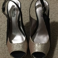 Shoes Charlotte Russe 5 inch and 1/2 wear inside the house only, look brand new Shoes Heels