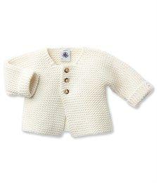 Baby Strickjacke aus Wolle und Baumwolle weiss Lait - Petit Bateau