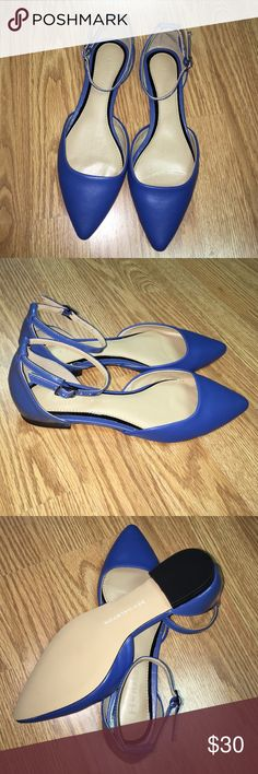 Halston QVC leather blue flat shoes Cobalt blue. NWT. size 6  !! 100% leather. No box Qvc Shoes Flats & Loafers