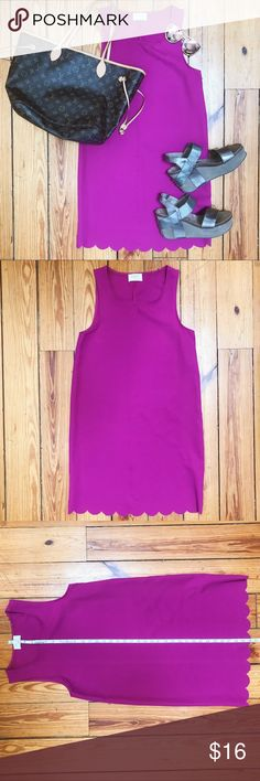 Fuchsia Scalloped Hem Dress Fuchsia Scalloped Hem Dress // worn once or twice // in great condition // brand is Everly // size Small Everly Dresses