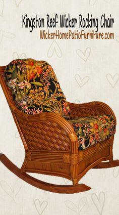 Kingston Reef Rattan Rocking Chair Model KBR from Spice Island Wicker - American Rattan Furniture - Rattan Rocking Chair, Wicker Rocker, Outdoor Wicker Furniture, Wicker Chairs, Room Chairs, Coastal Furniture, Upholstered Furniture, Side Chairs, Chair Design