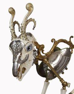 I think I have a new favorite sculptor (Skull-ptor?)- 'OTIS' is one of hundreds of Jessica Joslin's fantastic creations. #skull #sculpture #art #steampunk #curiosity #goat